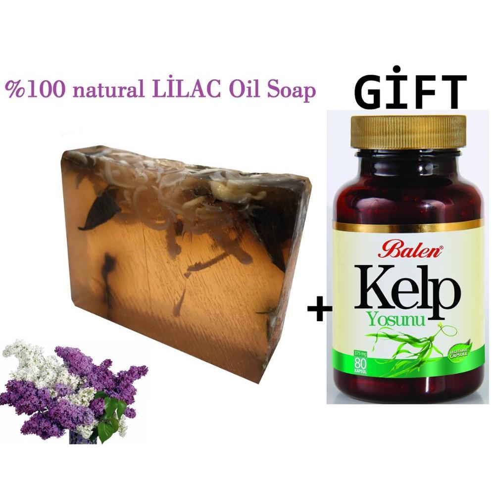 (Artículos de regalo) aceite Esencial de Lila hecho a mano jabón de gr + suplemento de alimentos de regalo Extracto de algas en polvo de Selenium orgánico