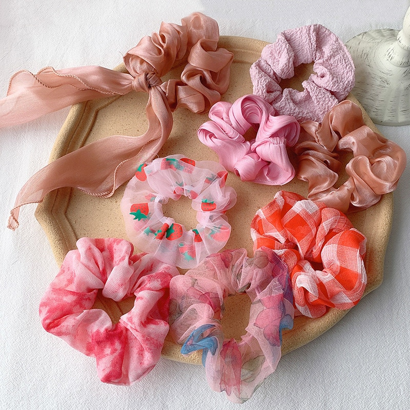 Ruoshui Pink Style Scrunchies Woman Rubber Band Hair Ties Girls Ponytail Holders Hair Accessories Headwear Ornaments Headband