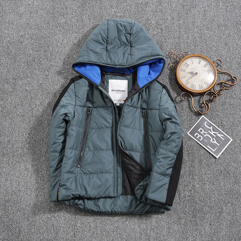 Jacket for Boys 2021 Europe Russia Spring Autumn Thick Parker Coat  Blue Coats with a Hood Height 110-134CM 4A-8A P302