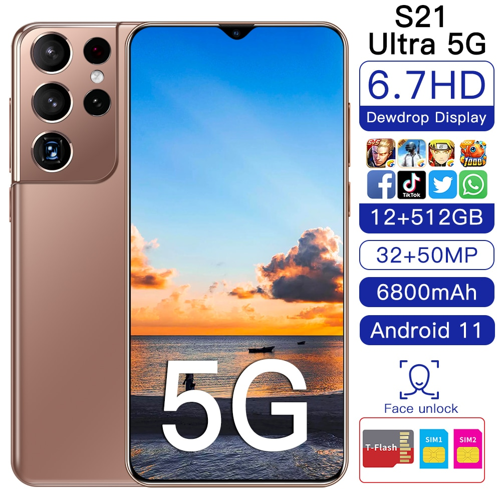 Galay S21+Ultra Smartphone 7.2 HDinch 12GB+512GB 5800mAh Global Version 4G/5G Android10.0 Mobile phone Celulares Cellphone Gift