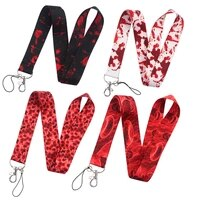 fd0711 fluid tissue lanyard neck strap rope for mobile cell phone blood id card badge holder with keychain for friend
