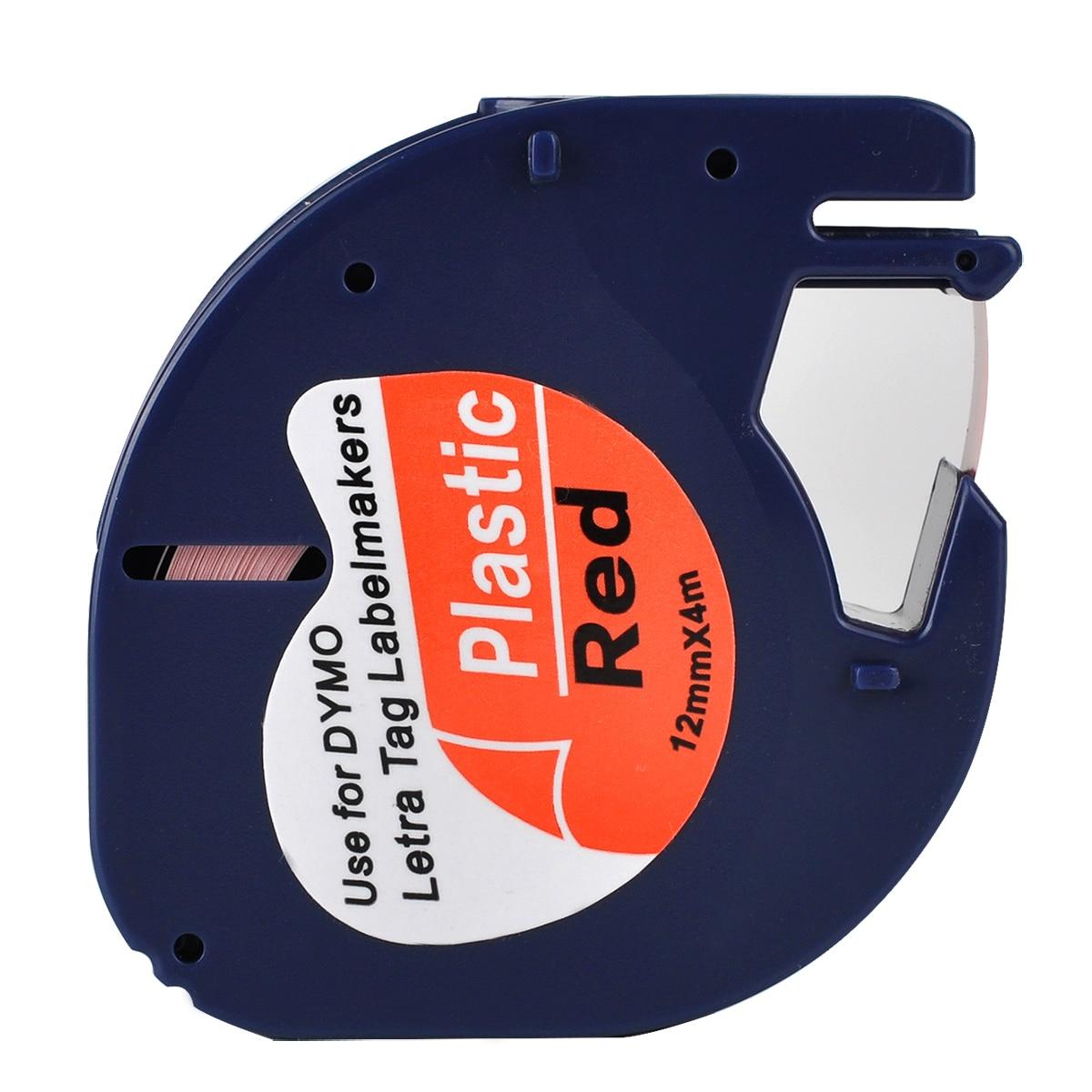 1 Compatible Dymo LetraTag 91203 negro sobre rojo (12mm x 4 m) cintas de etiquetas de plástico para LT-100H, LT-100T, LT-110T, QX 50, XR, XM,