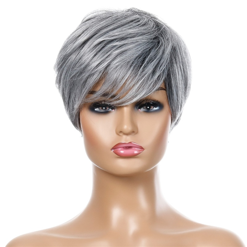 Ladies Short Silver Straight Wig With Bangs Nature Looking Synthetic Wig For Women Daily Party Use