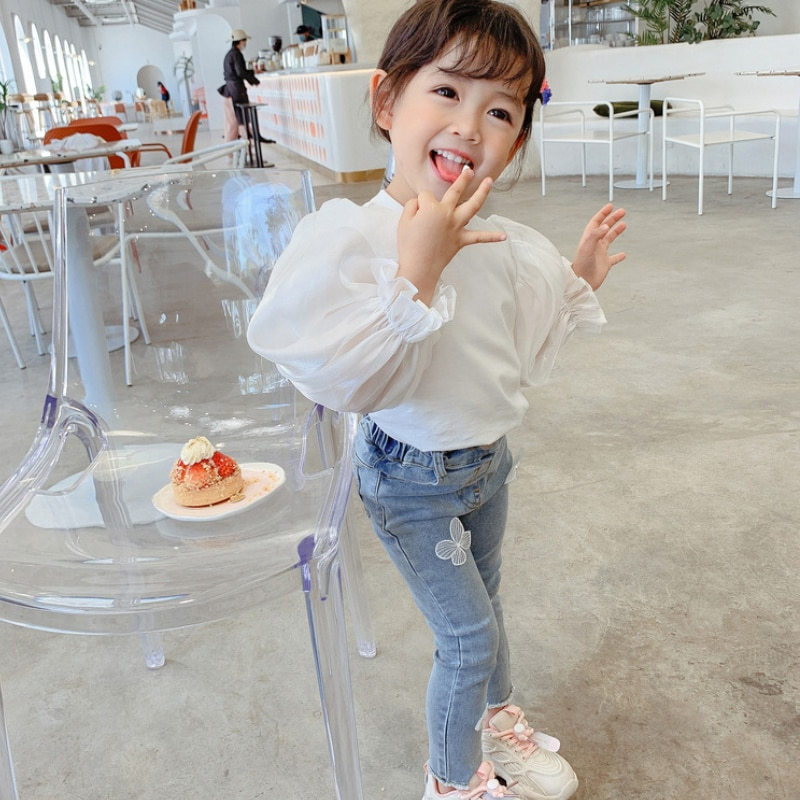 Baby girl clothes jeans fashion sweet butterfly decoration sweatpants 2-7 years old beibei Korean version Quality child clothing свитшот sweet years sweet years sw012emglfs7