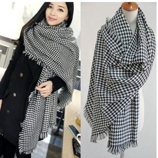 New Large Shawl Dual-purpose Black and White Thousand Bird Plaid Scarf Men's and Women's Oversized Shawl Imitation Cashmere