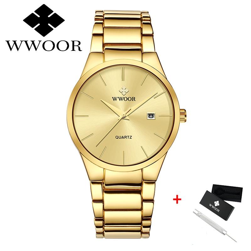 Watches Men WWOOR Brand Men Sport Watches Men's Quartz Clock Man Casual Military Waterproof Gold Wrist Watches relogio masculino