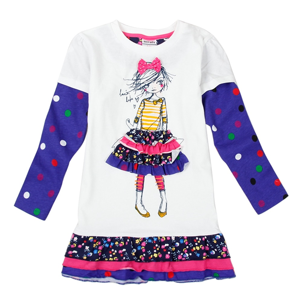 Vestido de manga larga para niñas vestido de primavera Otoño de algodón bordado figura de niña Niño con cuello redondo cómodo vestido