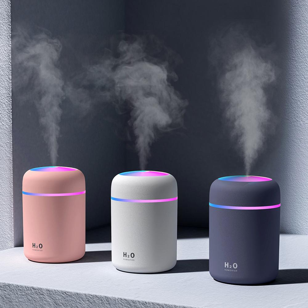 300ml Mini Air Humidifier Ultrasonic Aroma Essential Oil Diffuser USB Charging with Night Light for Home Office Car Difusor