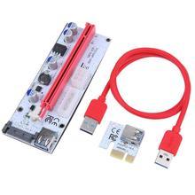 60cm PCI-E Riser carte VER008S 4Pin 6Pin SATA puissance 008S PCIe 1x 16x adaptateur USB 3.0 câble pour Bitcoin Miner BTC Mining