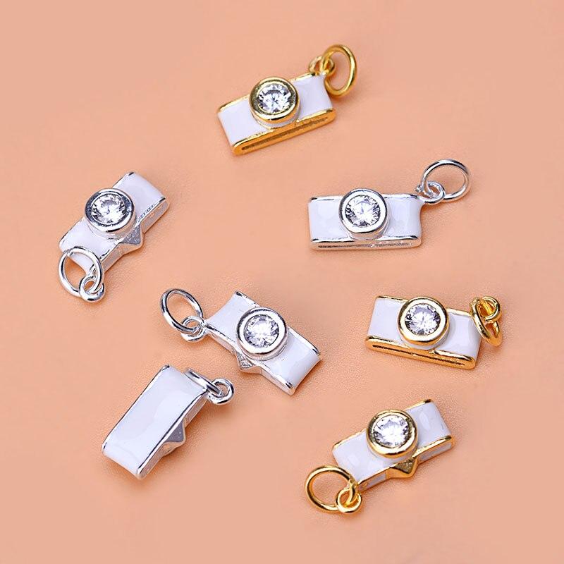 S925 pendientes coreanos de plata de ley con circonita fresca colgante para cámara joyería diy colgante de pulsera hecho a mano