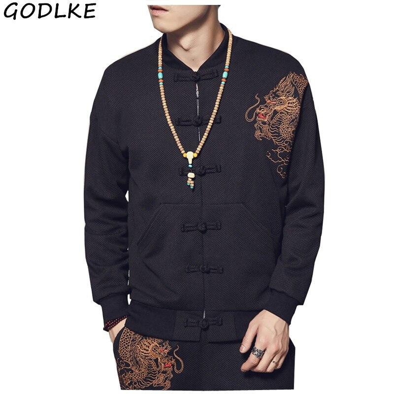 Chaqueta de bombardero para hombre, dragón chino bordada con chaqueta de piloto, chaqueta Retro de otoño para jóvenes, ropa de calle, Hipster, abrigos