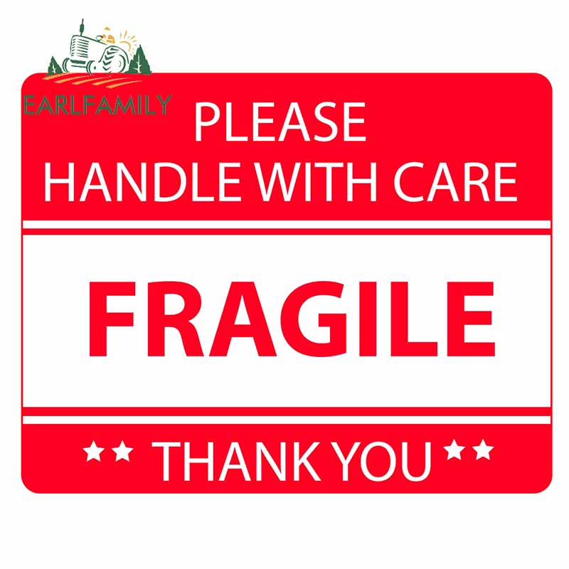 EARLFAMILY 13cm x 10.3cm PLEASE HANDLE WITH CARE FRAGILE Sign Decal Car Stickers Waterproof Graphics