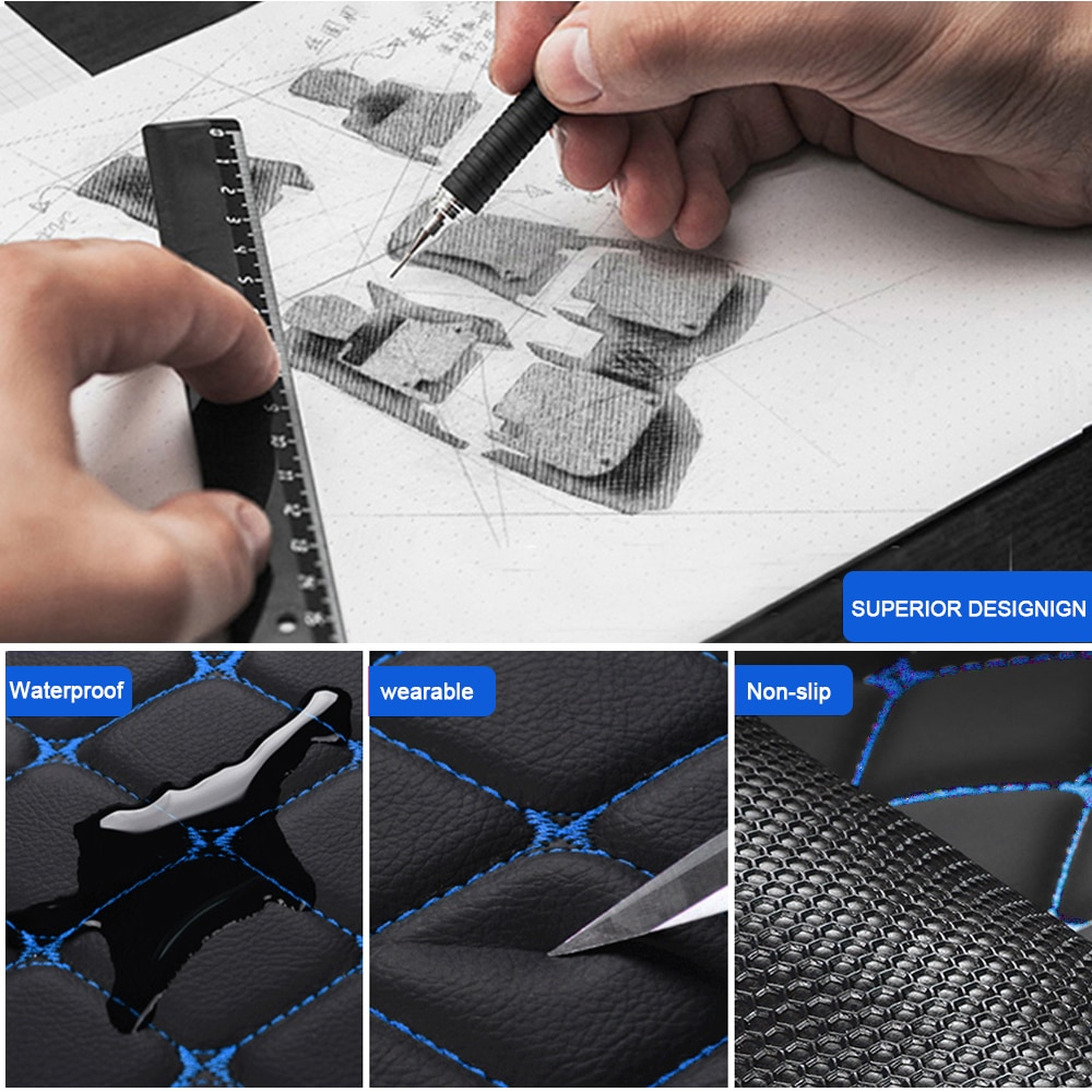 Car Floor Mat For Audi A1 A3 A4 A5 A6 A7 A8 Q2 Q3 Q5 Q7 R8 Foot Covers Auto Pads Automobile Rugs Interior Parts Accessories 5pcs enlarge