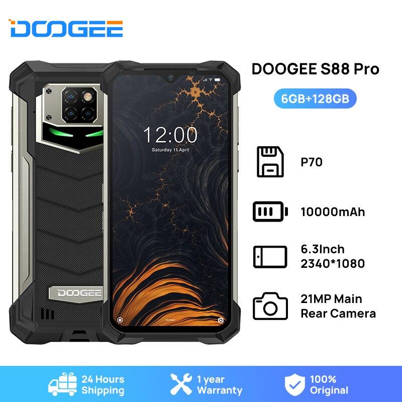 DOOGEE IP68/IP69K S88 Pro أندرويد 10 OS جوّال المهامّ الوعرة 10000mAh بطارية كبيرة سريعة تغيير هيليو P70 ثماني النواة 6GB RAM 128GB ROM