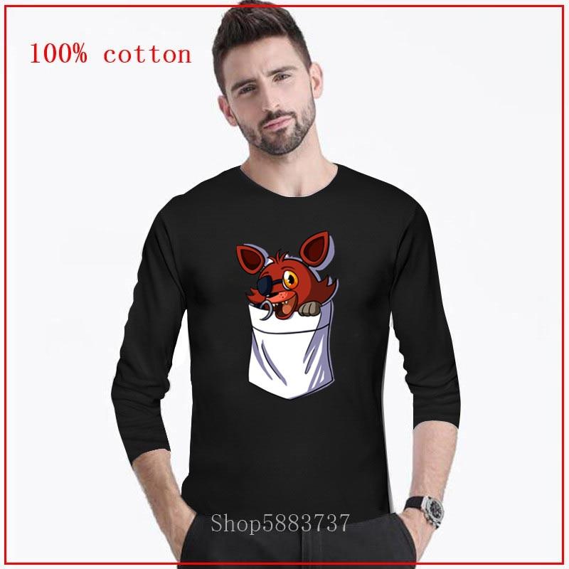 Foxy no meu bolso longo tshirt homem streetwear pouco bolso raposa camiseta de pelúcia foxy tshirt menino roupas da marca bonito appare