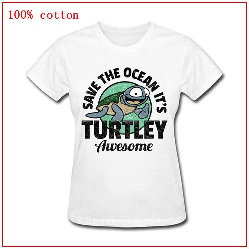 Vintage Save The Ocean Its Turtley impresionante camiseta mujer novedad tortuga sealife camiseta homme manga corta O cuello retro camisetas