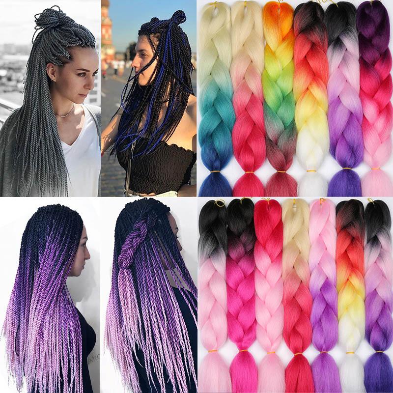Mechones de pelo sintético Rosa ombré LIHUI tamaño gigante sintético trenzado pelo de Kanekalon Crochet púrpura Arco Iris extensiones de cabello falso