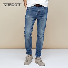 KUEGOU 2019 Autumn Cotton Blue Distressed Skinny Jeans Men Streetwear Brand Slim Fit Denim Pants For Male Stretch Trousers 2958