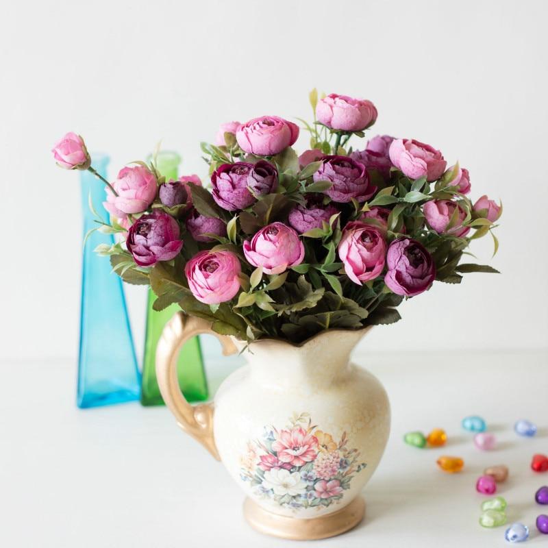 1 pieza 6 tenedor copo de nieve Camelia familia Oficina fiesta ocio decoración ornamentos pequeño ramo flores falsas