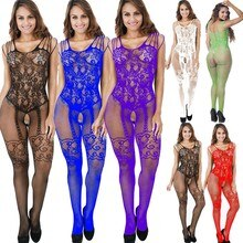 6 Colors Sexy Bodystockings Women Fishnet Open Crotch Catsuit Mesh Tights Lingerie Erotic Bodysuit S