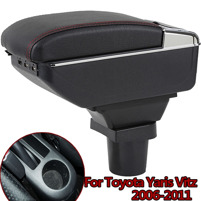 Car Arm Rest Storage Box for Toyota Yaris Vitz 2006-2011 Hatchback Centre Console Storage Box Rotatable Armrest USB charging