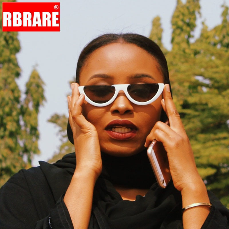 RBRARE Half Frame Women Sunglasses Cool Trendy Cat's Eye Sunglasses Fashion Transparent Brand Design