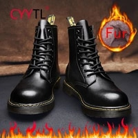cyytl 2021 winter mens fur lined outdoor snow boots fashion leather waterproof keep warm insulated 8 eye motorcycle shoes