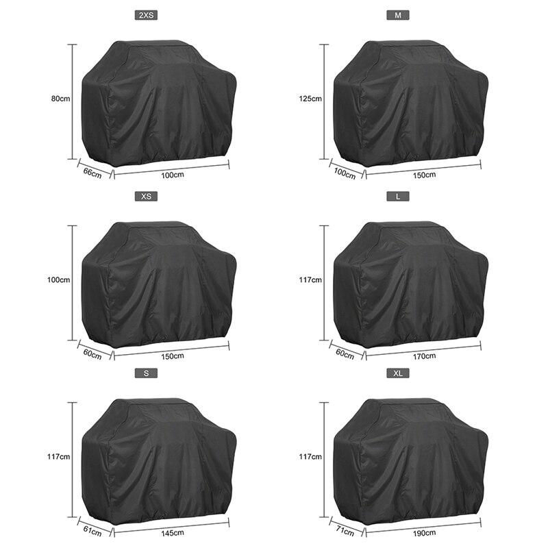 Accesorios de parrilla de barbacoa Anti polvo negro impermeable cubierta de barbacoa lluvia de gas de carbono Parrilla de barbacoa