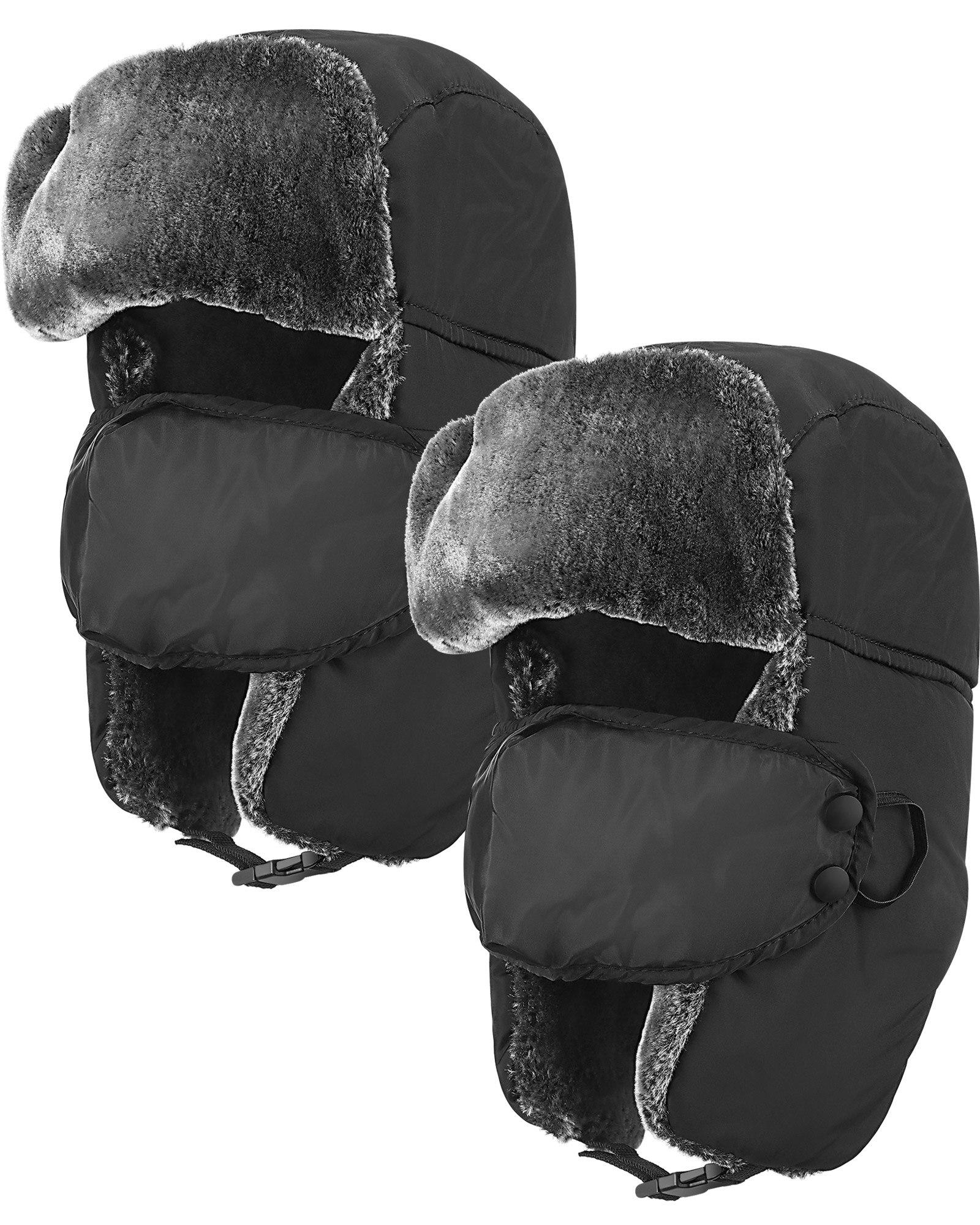 men women motorcycle face mask moto winter hat ears earflap hats trapper hat male trooper snow ski hat hunting cap Trapper Hat Winter Ski Hats for Men Trooper Russian Warm Hat with Ear Flaps with Mask Ushanka Bomber Fur Hats for Men Women