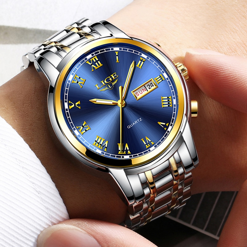 2021 LIGE Business Mens Watches Top Brand Luxury Fashion Date Watch Men Full Steel Waterproof Quartz Clock Relogio Masculino+Box enlarge