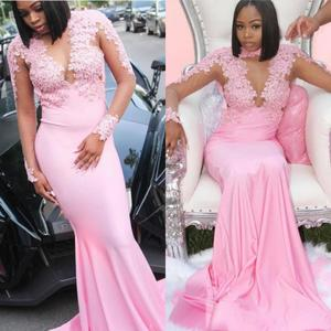 Pink Long Sleeves Mermaid Evening Dresses Lace Applique 2019 Arabic Dubai Satin Illusion Prom Gowns Robe De Soiree
