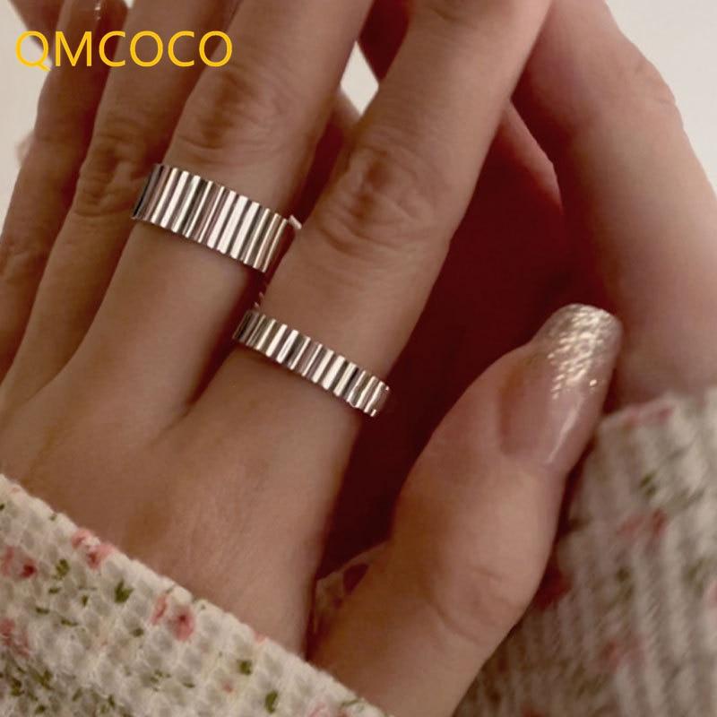qmcoco-корейский-ins-925-Серебряное-геометрическое-кольцо-для-женщин-простое-открытие-регулировка-на-палец-ювелирные-изделия-аксессуары-2021-новы