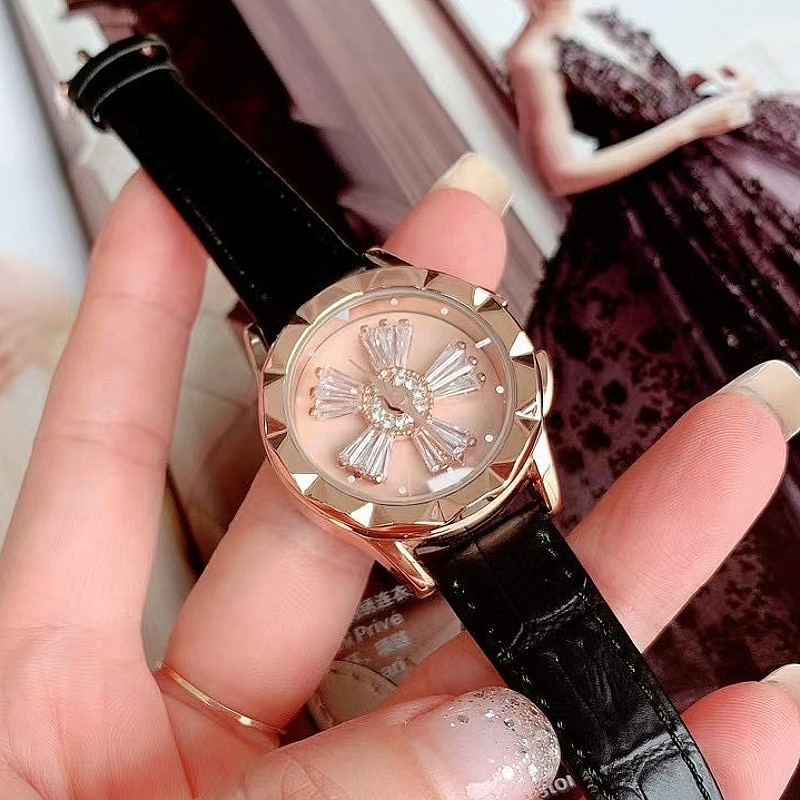 Luxury Leather Strap Rose Cold  Watches for Women Crystal Spinning Watch Waterproof GOOD LUCK Rotating Quartz Watch + Gift Box