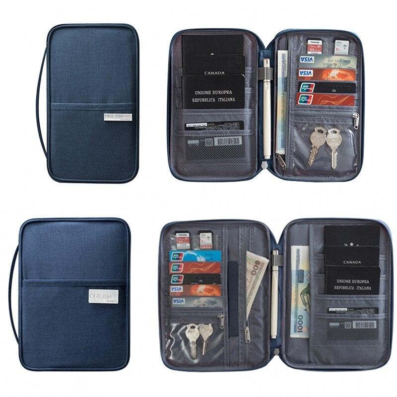 Porta pasaporte impermeable, Cartera de viaje, cartera grande para tarjetas de crédito, organizador, accesorios de viaje, bolsa para documentos, tarjetero 393