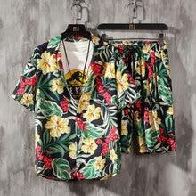 Men's 2 Pieces Set Hawaiian Shirts Beach Shorts Male Casual Streetwear 2021 Summer Floral Loose Hip