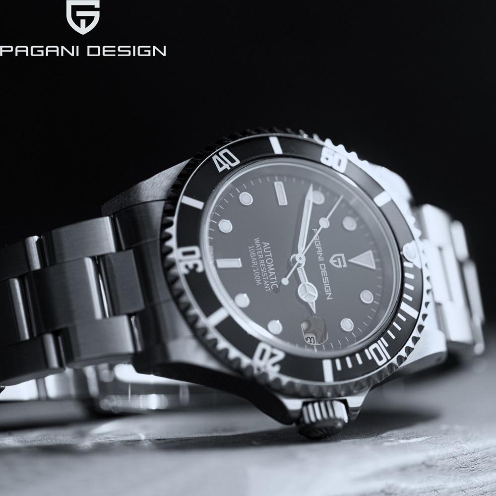 باجاني ديزاين 1639 ساعة يد رجال اعمال ميكانيكية ساعة اتوماتيك للرجال استانلس ستيل غواص montre homme 2021