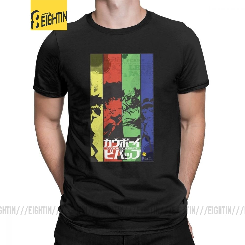 Camiseta de hombre Lets Jam Cowboy Bebop Vintage 100% Camiseta de algodón de Manga corta espacio Anime Spike Manga japonesa Jet Faye camisetas