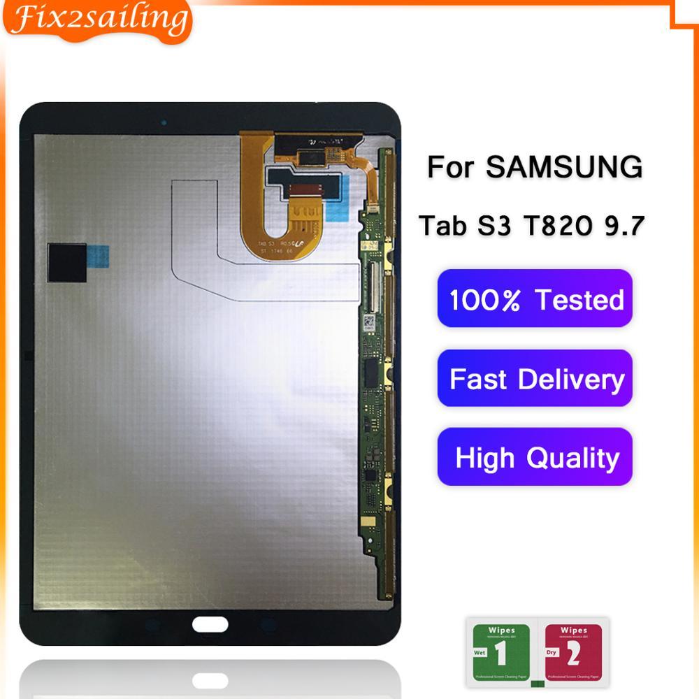 100% probado para Samsung GALAXY Tab S3 9,7 T820 T825 T827 pantalla LCD con pantalla táctil sensores digitalizadores Panel de montaje completo