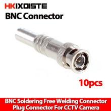 Connecteur BNC pour caméra coaxiale RG59, 10 pièces/lot, pour système de vidéosurveillance, sans ressort torsadé, pour accessoires de Surveillance