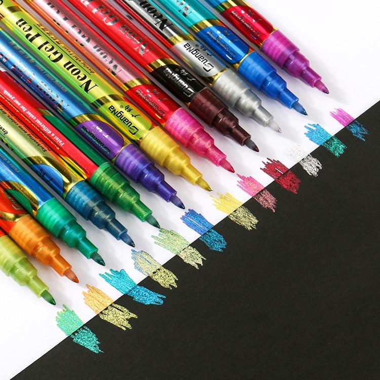 12-color set flashing gel pen fluorescent glitter paint pen hand account office marker pen painting color marker south korean fresh and lovely broken beautiful small office marker pen 10 color gel pens kit