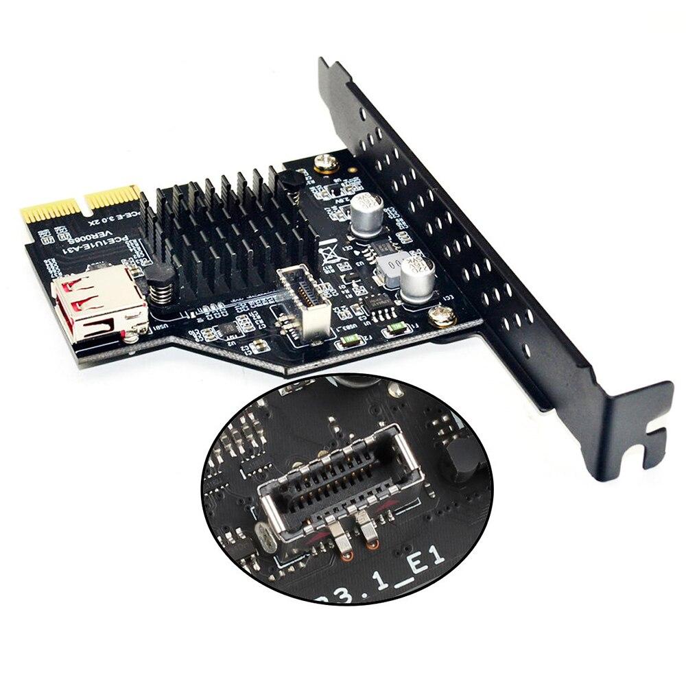 USB 3.1 الجبهة نوع E بطاقة التوسع 20PIN PCI-E 4X 8X 16X 10Gbps محول بطاقة Raiser ASM3142 Win XP/7/8/10/LINUX ل BTC ETH