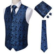 Hi-Tie Navy Paisley 100% vestido de seda chaleco conjunto para hombres azul oscuro Jacquard hombres chaleco para traje para hombre chaleco para boda chaqueta Formal