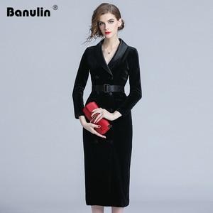 New Autumn Fashion Double-breasted Velvet Dress Women Winter Long Sleeve Blazer Collar Ladies Office Wear Bodycon Party Dress