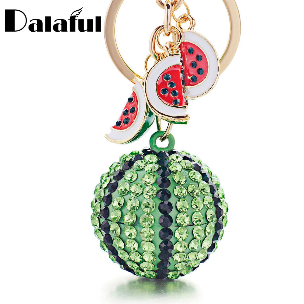 Dalaful sandía verde bola colgante llavero con anilla llavero de Metal llavero para mujer bolsa coche llaveros K340