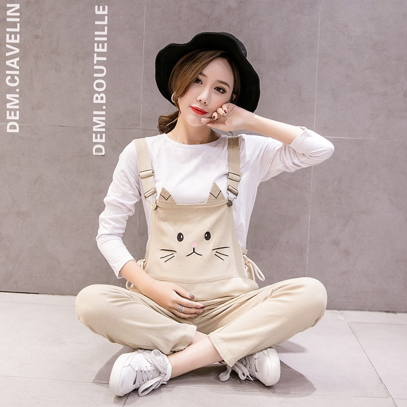 Maternity Women Cotton Cat Embroidered Lace Pregnant Strap Rompers Womens Jumpsuits Casual Pregnancy Pants Sleeveless Trousers enlarge