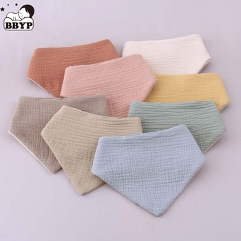 Triangle Burp Cloth Soft Cotton Baby Feeding Drool Bib Double Sided Snap Button Saliva Towel for Newborn Toddler Shower Gifts