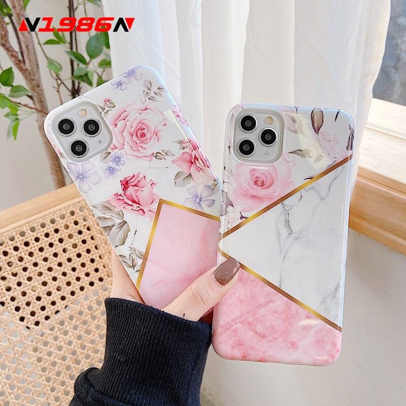 N1986n caso do telefone para o iphone x xr xs max 11 11 pro max 6s 7 8 mais arte flores de mármore floral macio imd para iphone 11 caso do telefone