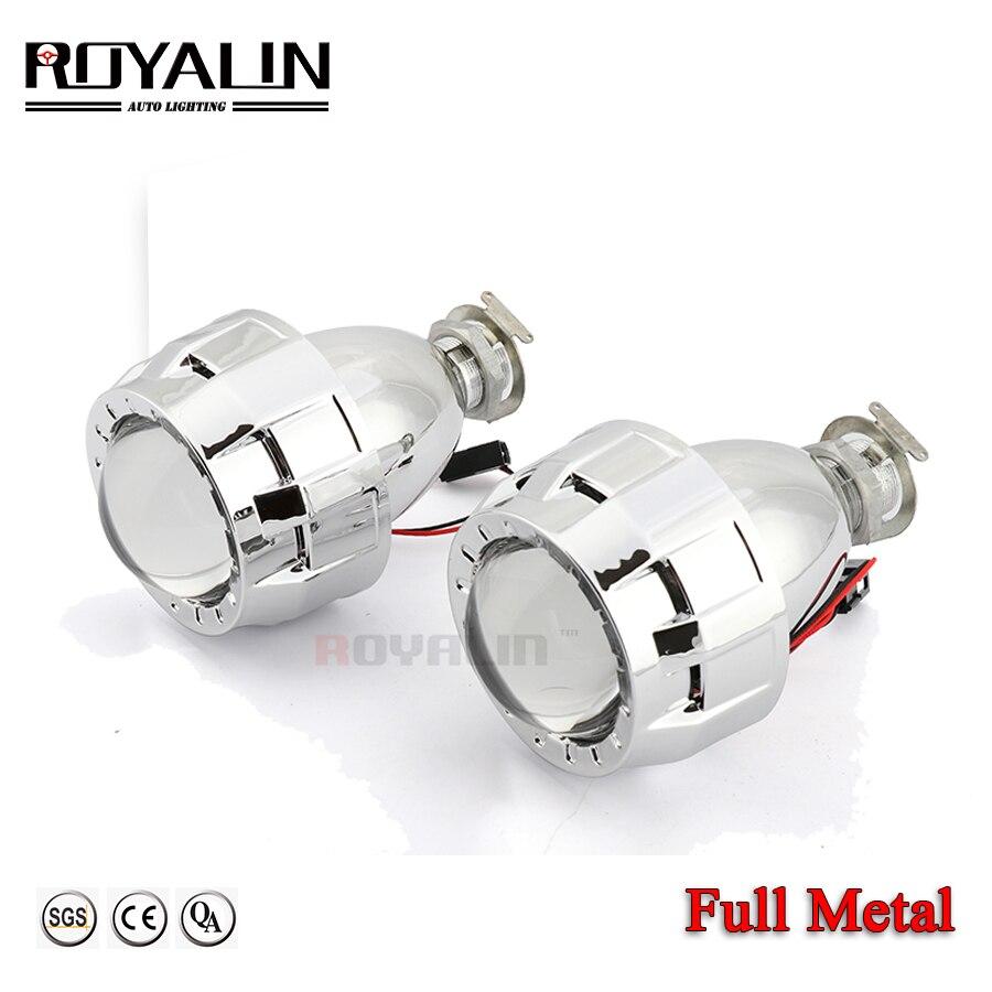 ROYALIN автомобильный Стайлинг 2,0 HID Bi xenon фара проектор Объектив металлический W/ Mini Gatling Gun кожух для мотоцикла H1 H7 H4 Модернизированный