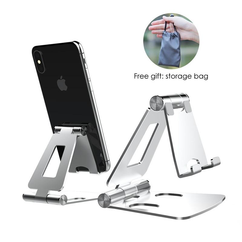 Soporte de teléfono LINGCHEN para iPhone 11, Samsung Xiaomi mi 9, soporte plegable de Metal para escritorio de teléfono, soporte de teléfono móvil para iPhone 7, 8 X XS