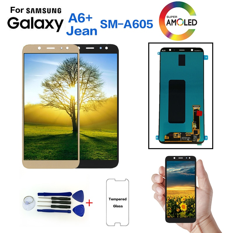 Original para samsung Galaxy A6 + A605 SM-A605F reemplazo de la pantalla lcd de pantalla para samsung A605FN A605G A605GN Módulo de pantalla lcd
